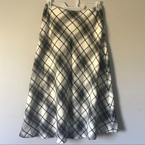 East 5th black and white plaid long skirt